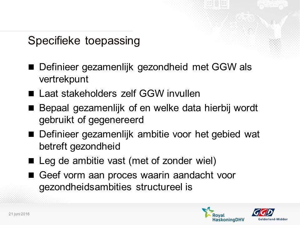 Specifieke toepassing Definieer gezamenlijk gezondheid met GGW als vertrekpunt Laat stakeholders zelf GGW invullen Bepaal gezamenlijk of en welke data