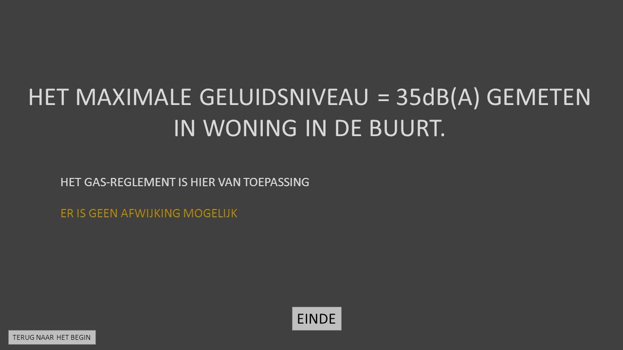 HET MAXIMALE GELUIDSNIVEAU = 35dB(A) GEMETEN IN WONING IN DE BUURT.