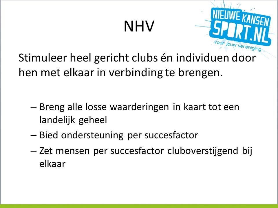 NHV Stimuleer heel gericht clubs én individuen door hen met elkaar in verbinding te brengen.