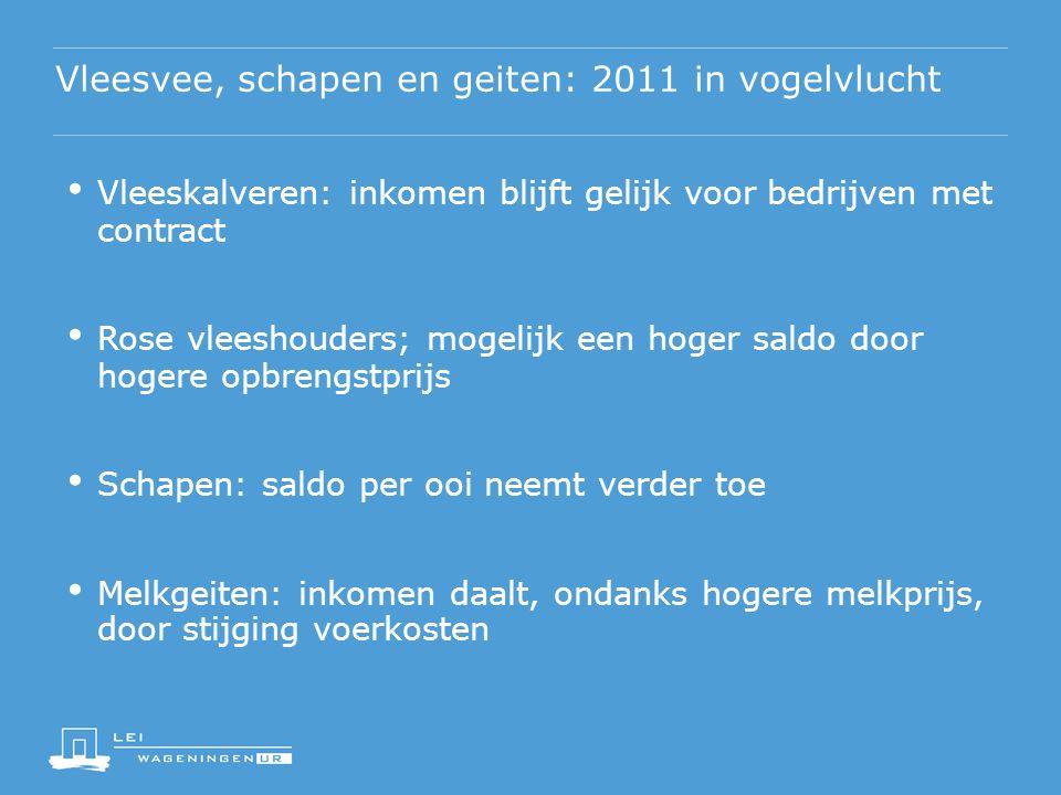 Vleesvee, schapen en geiten: 2011 in vogelvlucht Vleeskalveren: inkomen blijft gelijk voor bedrijven met contract Rose vleeshouders; mogelijk een hoge
