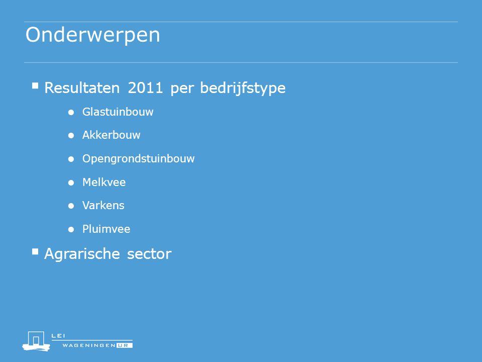Onderwerpen  Resultaten 2011 per bedrijfstype ● Glastuinbouw ● Akkerbouw ● Opengrondstuinbouw ● Melkvee ● Varkens ● Pluimvee  Agrarische sector