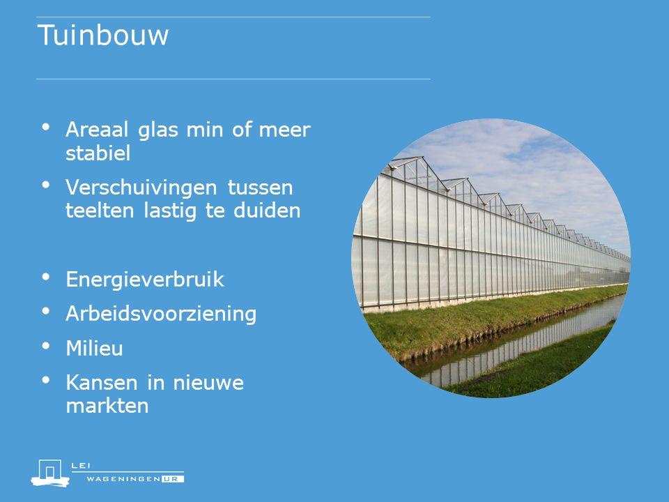 Tuinbouw Areaal glas min of meer stabiel Verschuivingen tussen teelten lastig te duiden Energieverbruik Arbeidsvoorziening Milieu Kansen in nieuwe markten