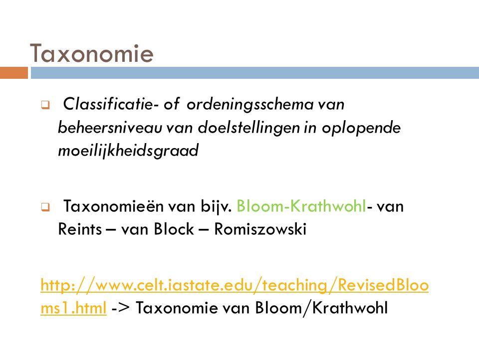Taxonomie  Classificatie- of ordeningsschema van beheersniveau van doelstellingen in oplopende moeilijkheidsgraad  Taxonomieën van bijv. Bloom-Krath