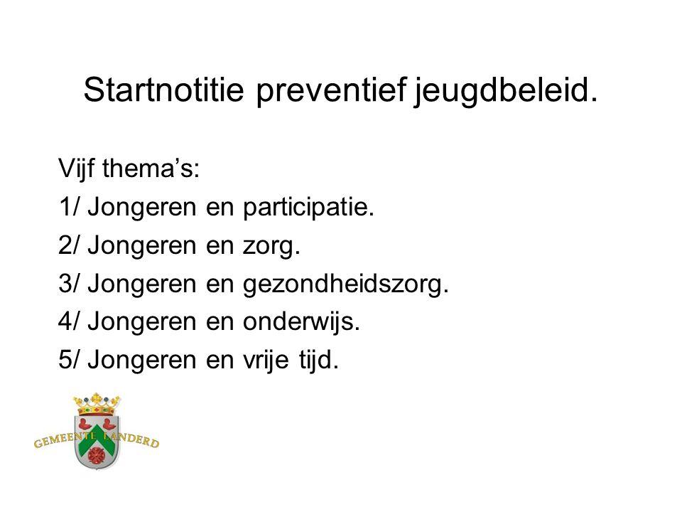 Startnotitie preventief jeugdbeleid. Vijf thema's: 1/ Jongeren en participatie. 2/ Jongeren en zorg. 3/ Jongeren en gezondheidszorg. 4/ Jongeren en on