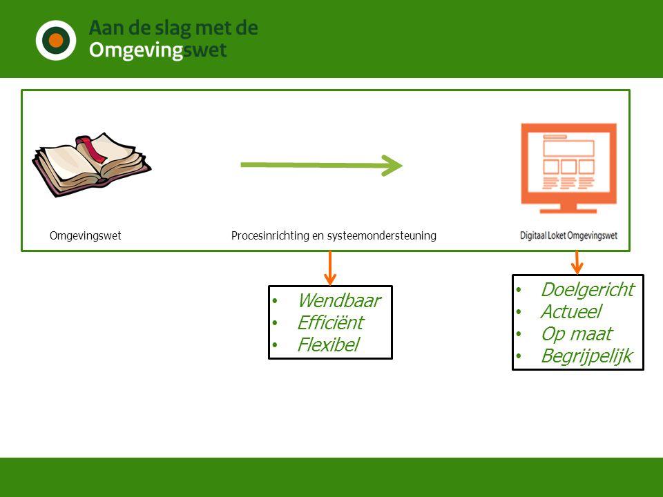 Procesinrichting en systeemondersteuning Wendbaar Efficiënt Flexibel Doelgericht Actueel Op maat Begrijpelijk