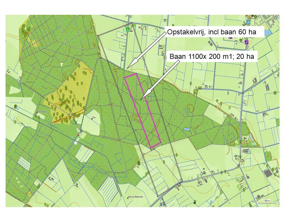 Baan 1100x 200 m1; 20 ha Opstakelvrij, incl baan 60 ha