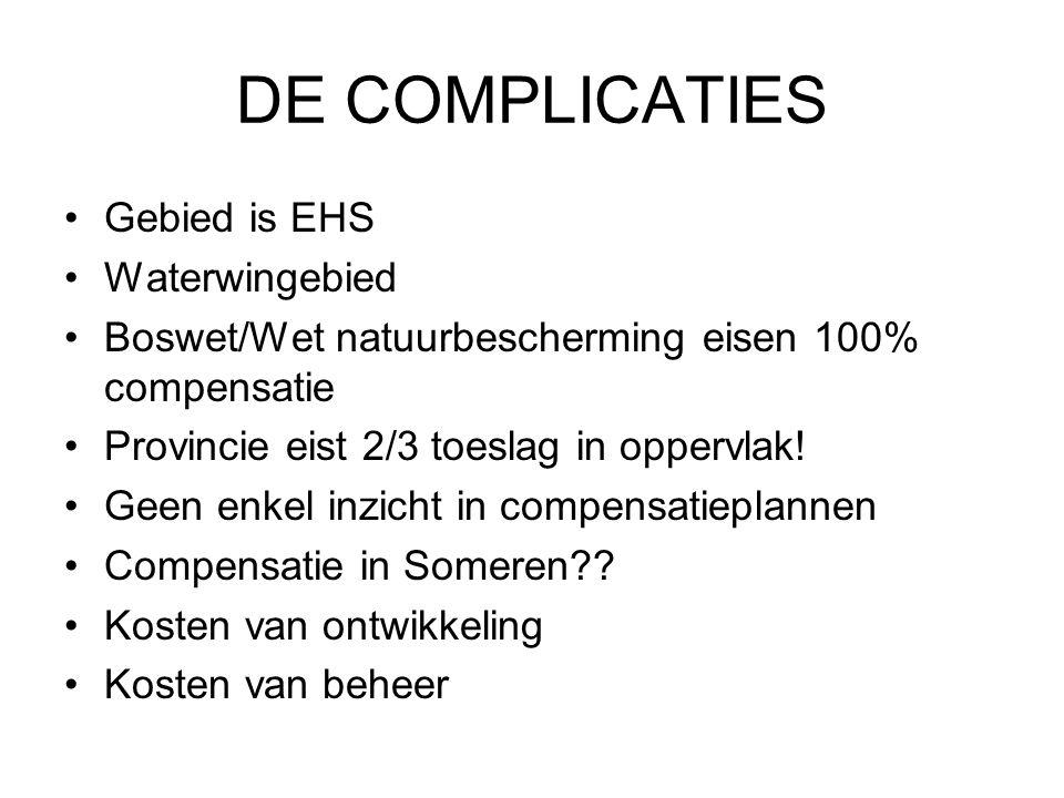 DE COMPLICATIES Gebied is EHS Waterwingebied Boswet/Wet natuurbescherming eisen 100% compensatie Provincie eist 2/3 toeslag in oppervlak.