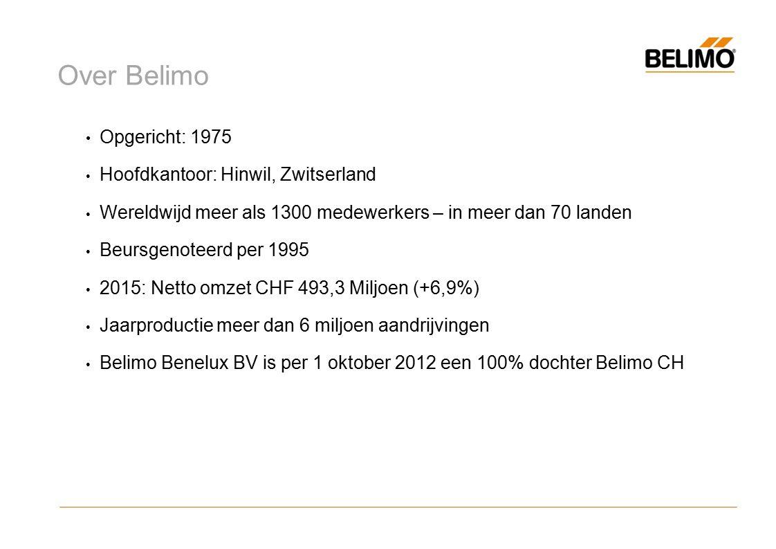 Over Belimo Opgericht: 1975 Hoofdkantoor: Hinwil, Zwitserland Wereldwijd meer als 1300 medewerkers – in meer dan 70 landen Beursgenoteerd per 1995 2015: Netto omzet CHF 493,3 Miljoen (+6,9%) Jaarproductie meer dan 6 miljoen aandrijvingen Belimo Benelux BV is per 1 oktober 2012 een 100% dochter Belimo CH