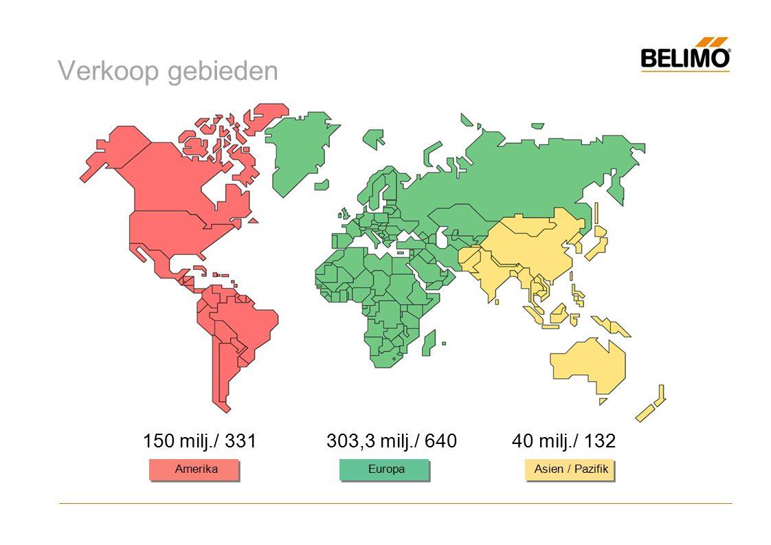 Verkoop gebieden Europa Amerika Asien / Pazifik 150 milj./ 331303,3 milj./ 640 40 milj./ 132