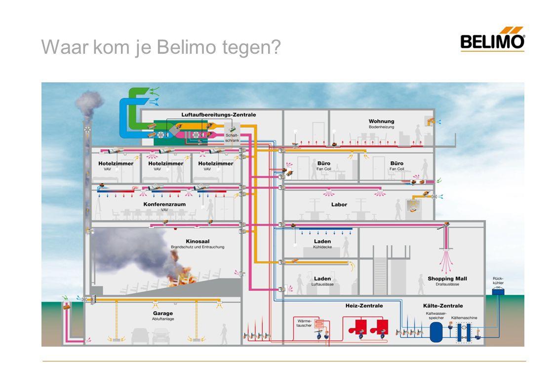 History 1975 oprichting Belimo door 5 mensen van Staefa CS 1976 de eerste luchtklepmotor SM12 op de markt 1977 ontwikkeling van de eerste brandklepmotor 1984 introductie van de variabele volumeregeling VAV 1997 1.000.000 aandrijvingen per jaar verkocht 1998 introductie van de regelkogelkraan 2006 30.000.000 aandrijvingen 2008 energiebesparing en systeemoplossingen VAV 2009 introductie van de innovatieve 6-weg regelkogelkraan 2012 introductie van de Energy valve (intro Belimo Benelux BV) 2013 introductie van EPIV en QCV 2014 introductie NFC technologie en PIQCV 2015 multiflow principe en zone tight family 2016 Belimo introduceert een sensor programma onder eigen naam (Q4)