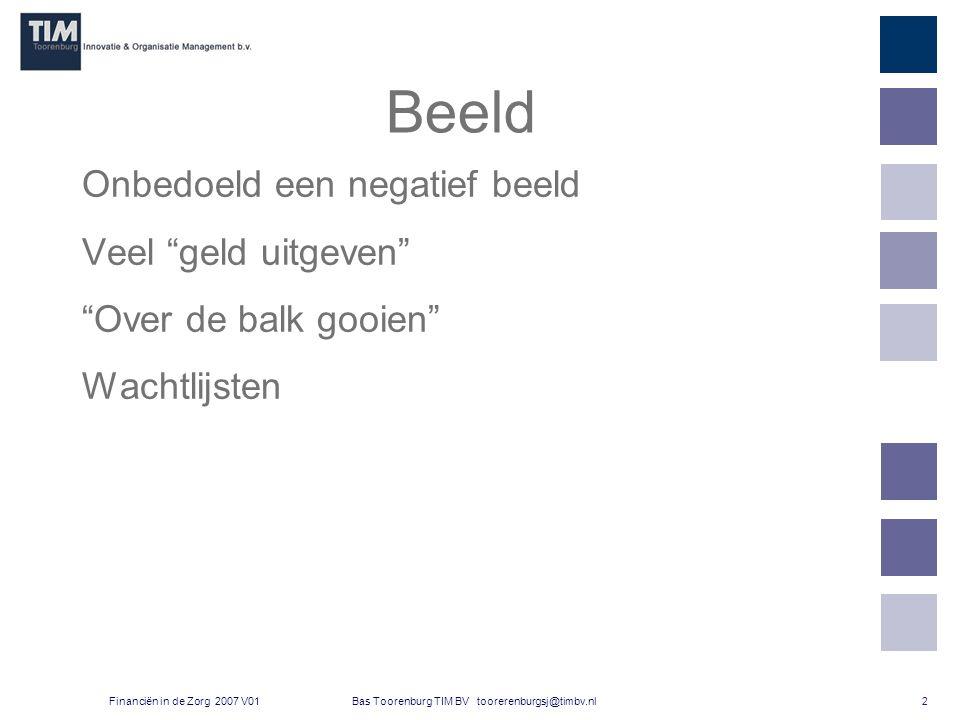 2 Bas Toorenburg TIM BV toorerenburgsj@timbv.nlFinanciën in de Zorg 2007 V01 Beeld Onbedoeld een negatief beeld Veel geld uitgeven Over de balk gooien Wachtlijsten