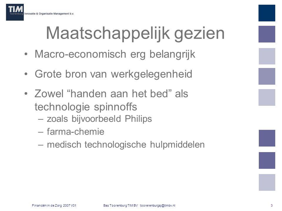 3 Bas Toorenburg TIM BV toorerenburgsj@timbv.nlFinanciën in de Zorg 2007 V01 Maatschappelijk gezien Macro-economisch erg belangrijk Grote bron van werkgelegenheid Zowel handen aan het bed als technologie spinnoffs –zoals bijvoorbeeld Philips –farma-chemie –medisch technologische hulpmiddelen