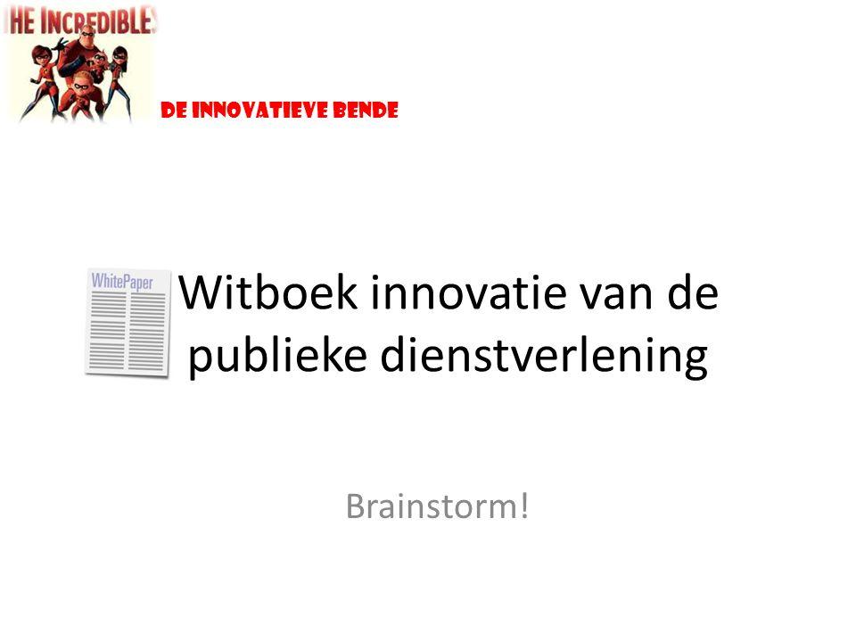 Witboek innovatie van de publieke dienstverlening Brainstorm! De innovatieve bende