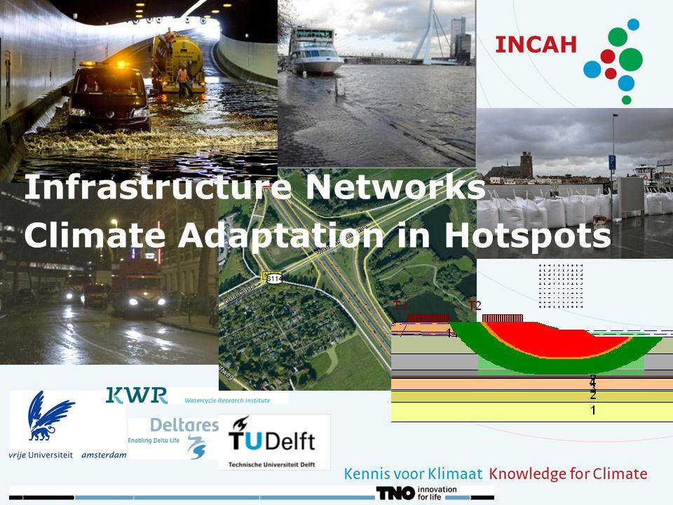 INCAH: Parametergevoeligheid Verandering van de stabiliteit door: Duur van de overstroming (-) Extreme grondwaterstijghoogte in het Pleistoceen (+0,5 m) (-) Sneller verzadigd raken wegcunet afhankelijk van doorlatendheid cunet (+/-) Slechte ontwatering van het cunet / talud (-) Verkeersbelasting (-)