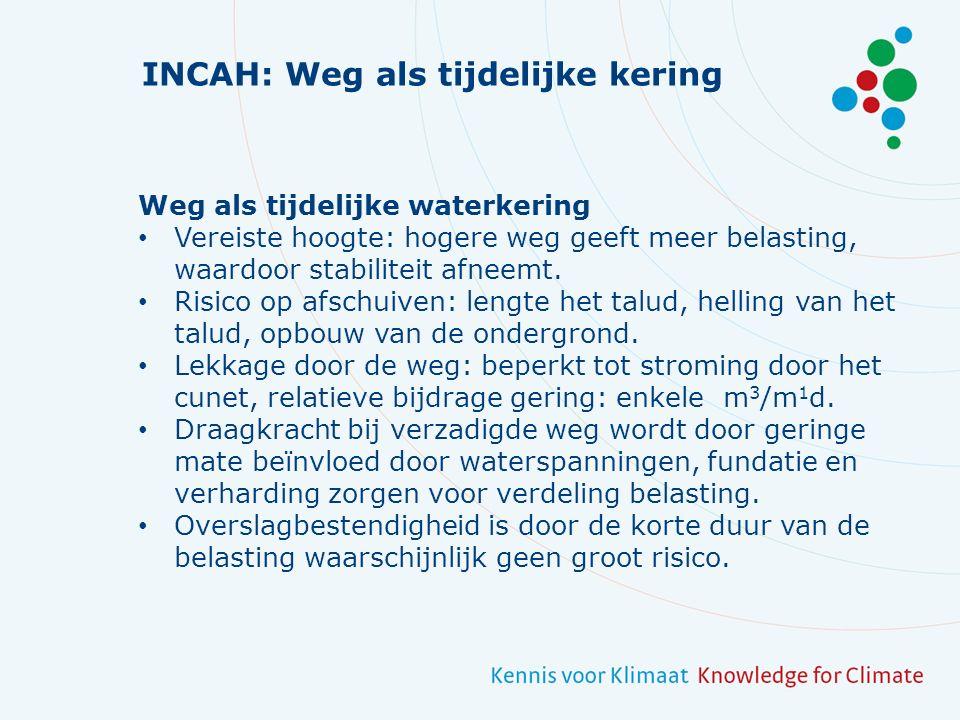 INCAH: Weg als tijdelijke kering Weg als tijdelijke waterkering Vereiste hoogte: hogere weg geeft meer belasting, waardoor stabiliteit afneemt.