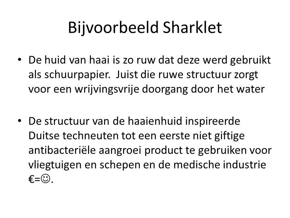 Bijvoorbeeld Sharklet De huid van haai is zo ruw dat deze werd gebruikt als schuurpapier. Juist die ruwe structuur zorgt voor een wrijvingsvrije doorg
