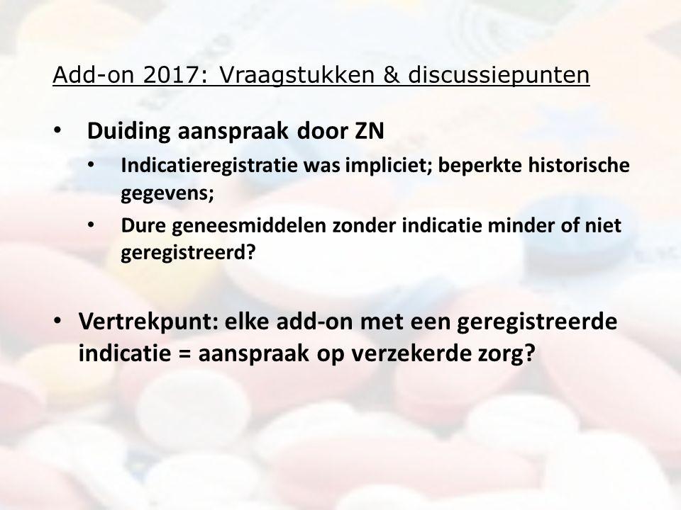 Add-on 2017: Vraagstukken & discussiepunten Duiding aanspraak door ZN Indicatieregistratie was impliciet; beperkte historische gegevens; Dure geneesmiddelen zonder indicatie minder of niet geregistreerd.