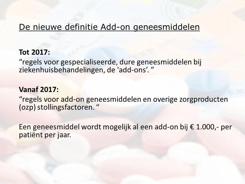 De nieuwe definitie Add-on geneesmiddelen Tot 2017: regels voor gespecialiseerde, dure geneesmiddelen bij ziekenhuisbehandelingen, de add-ons'.
