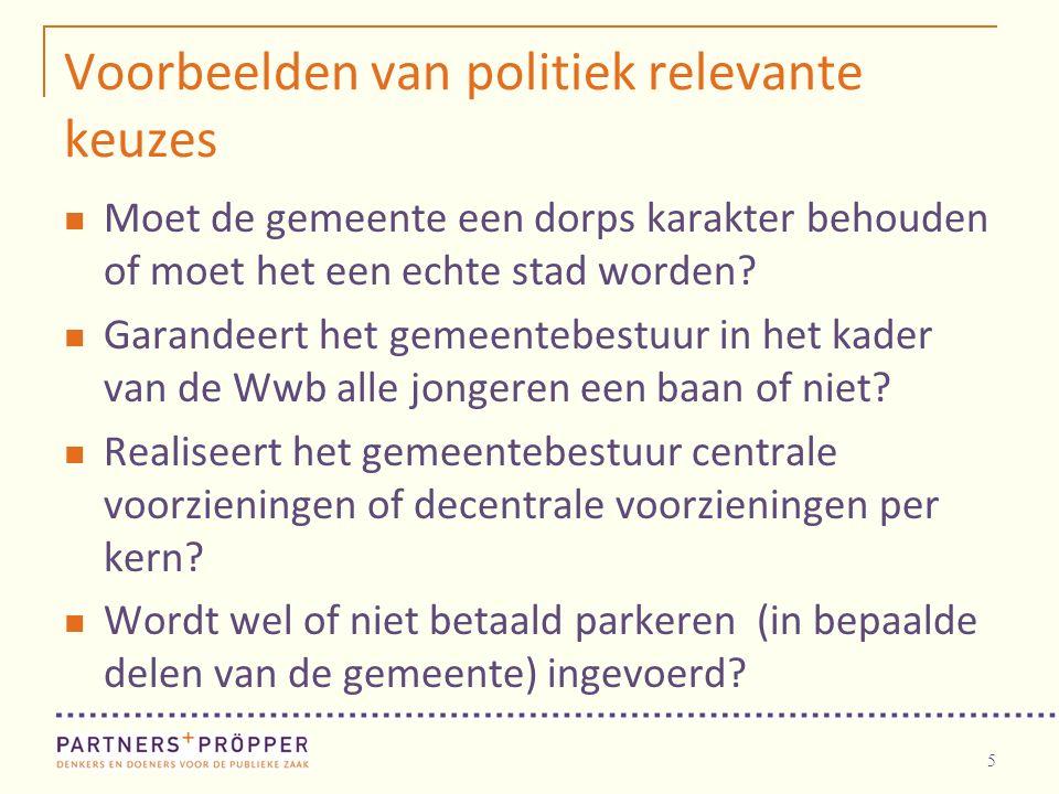 5 Voorbeelden van politiek relevante keuzes Moet de gemeente een dorps karakter behouden of moet het een echte stad worden? Garandeert het gemeentebes