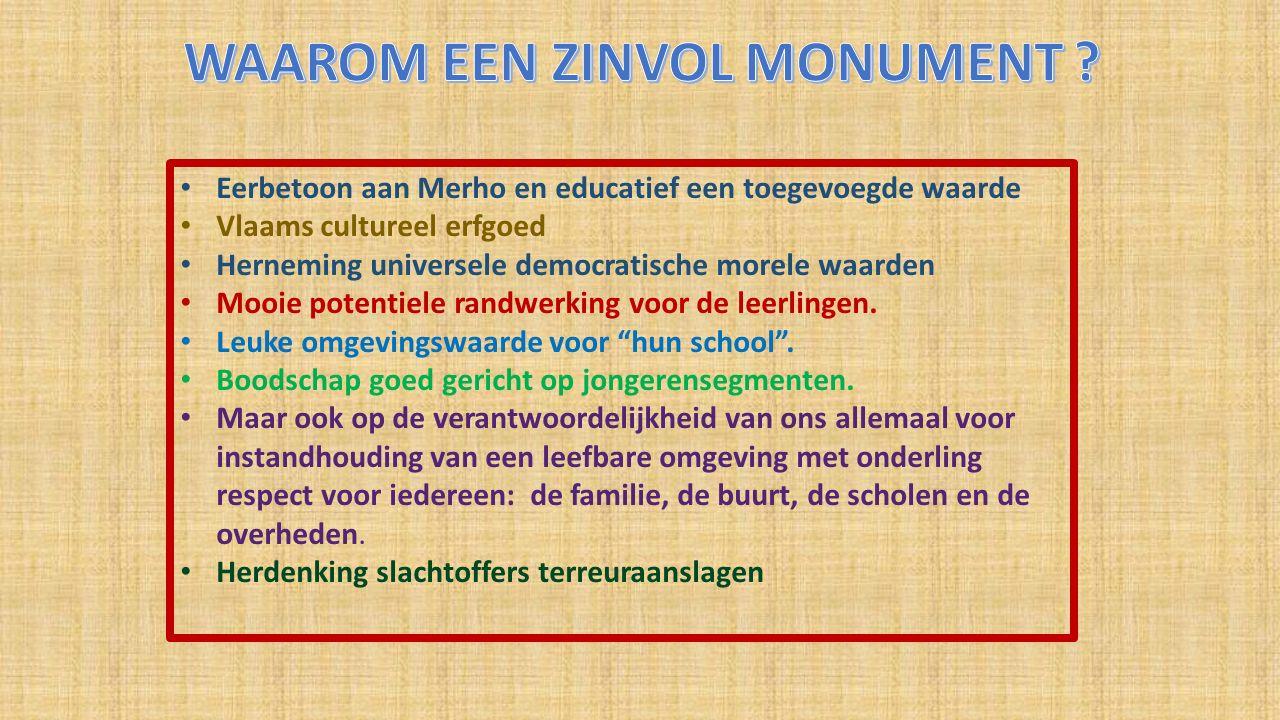 Eerbetoon aan Merho en educatief een toegevoegde waarde Vlaams cultureel erfgoed Herneming universele democratische morele waarden Mooie potentiele randwerking voor de leerlingen.