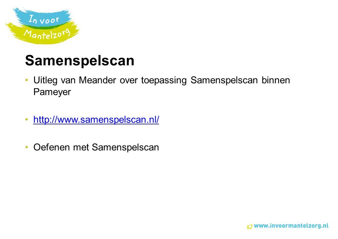 Samenspelscan Uitleg van Meander over toepassing Samenspelscan binnen Pameyer http://www.samenspelscan.nl/ Oefenen met Samenspelscan