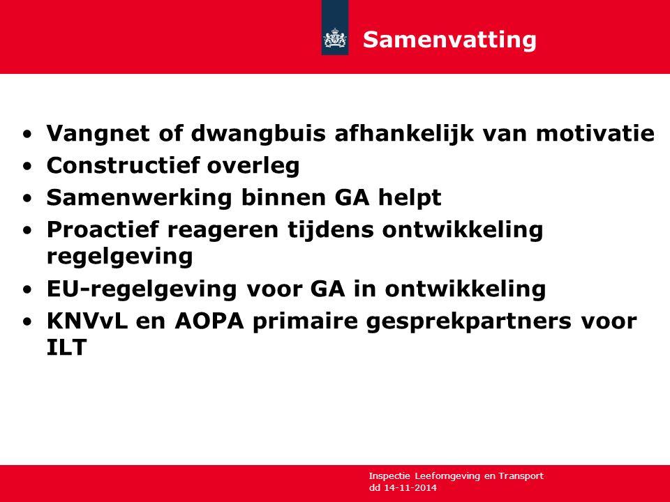 Inspectie Leefomgeving en Transport Vangnet of dwangbuis afhankelijk van motivatie Constructief overleg Samenwerking binnen GA helpt Proactief reagere