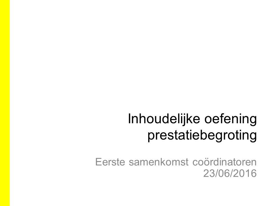 IKW 20/6 Brief van de MP Bourgeois en vice-MP Tommelein aan het VZC: –Meerwaarde prestatiebegroting wordt beaamd –Structuur moet klaarstaan naar volgende legislatuur toe –Verdere besluitvorming manier van implementatie op IKW voorjaar 2017 –Rekening houden met buitenlandse ervaringen –Complementair met werkgroep leesbaarheid