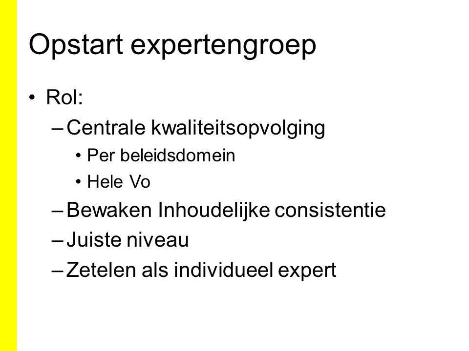 Opstart expertengroep Rol: –Centrale kwaliteitsopvolging Per beleidsdomein Hele Vo –Bewaken Inhoudelijke consistentie –Juiste niveau –Zetelen als individueel expert