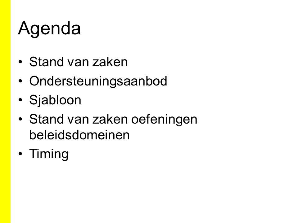 Agenda Stand van zaken Ondersteuningsaanbod Sjabloon Stand van zaken oefeningen beleidsdomeinen Timing