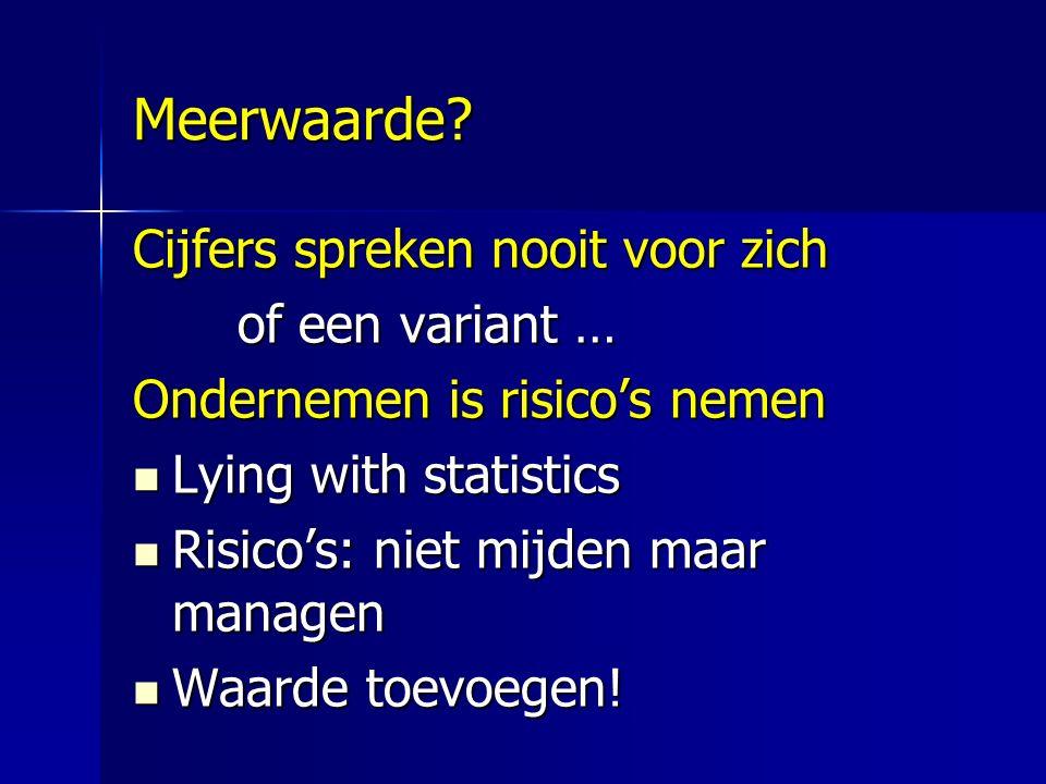 Meerwaarde? Cijfers spreken nooit voor zich of een variant … Ondernemen is risico's nemen Lying with statistics Lying with statistics Risico's: niet m
