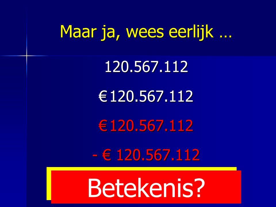 Maar ja, wees eerlijk … 120.567.112 €120.567.112 - € 120.567.112 Betekenis?