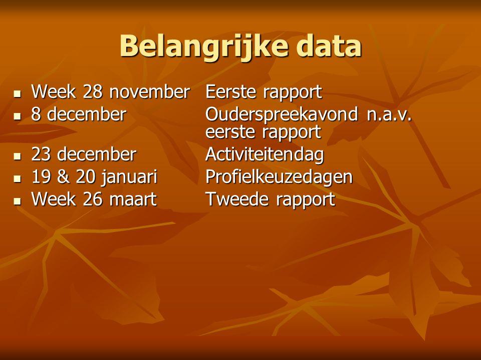 Belangrijke data Week 28 novemberEerste rapport Week 28 novemberEerste rapport 8 decemberOuderspreekavond n.a.v.
