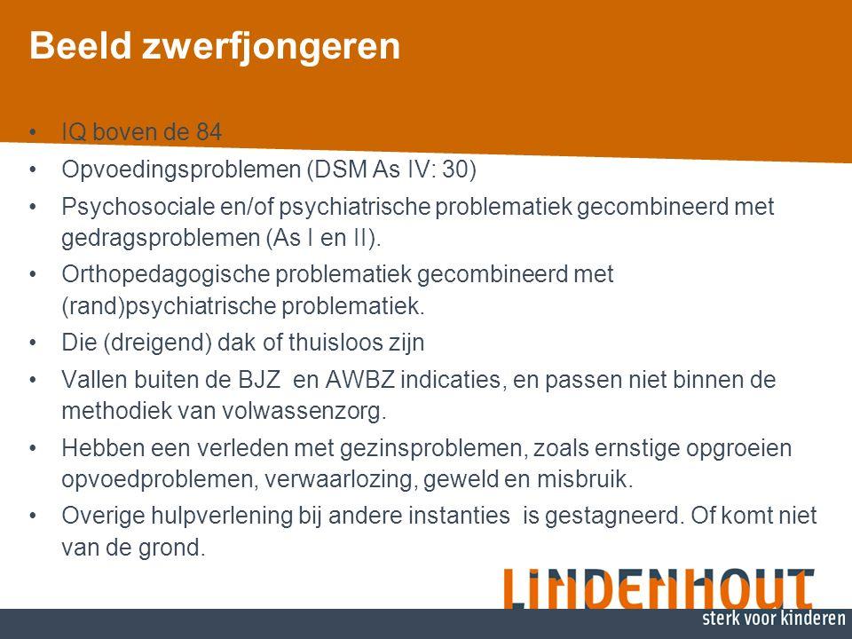 Beeld zwerfjongeren IQ boven de 84 Opvoedingsproblemen (DSM As IV: 30) Psychosociale en/of psychiatrische problematiek gecombineerd met gedragsproblemen (As I en II).