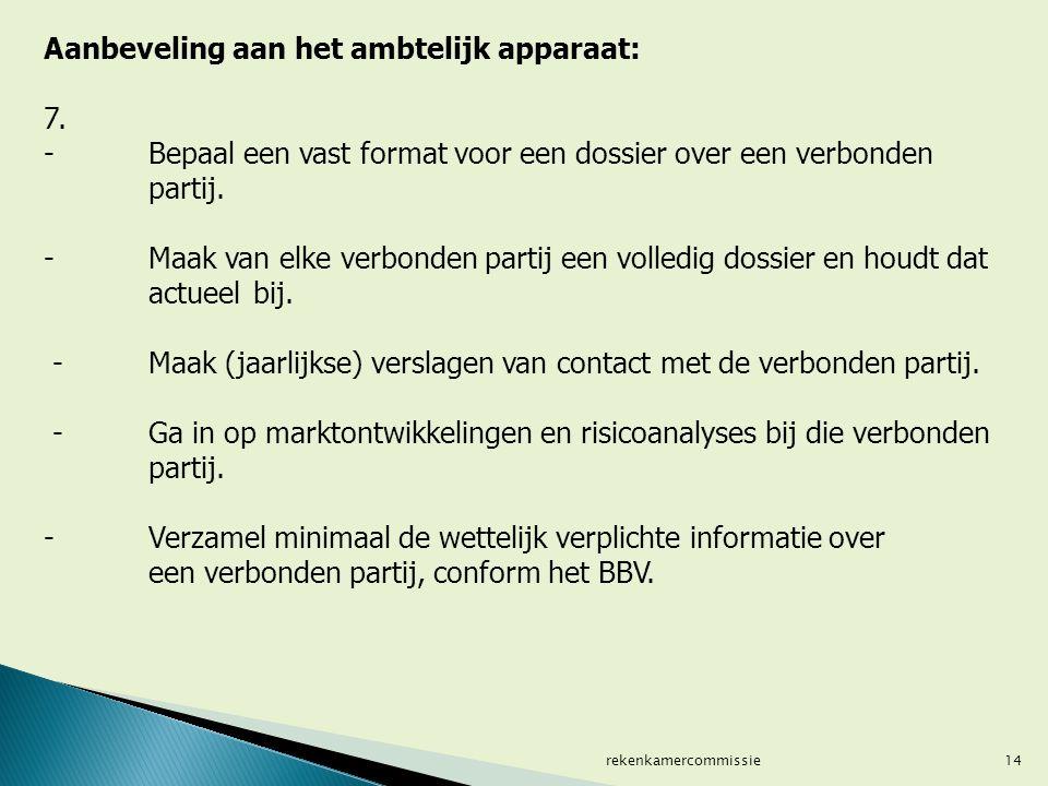 14 Aanbeveling aan het ambtelijk apparaat: 7. -Bepaal een vast format voor een dossier over een verbonden partij. - Maak van elke verbonden partij een
