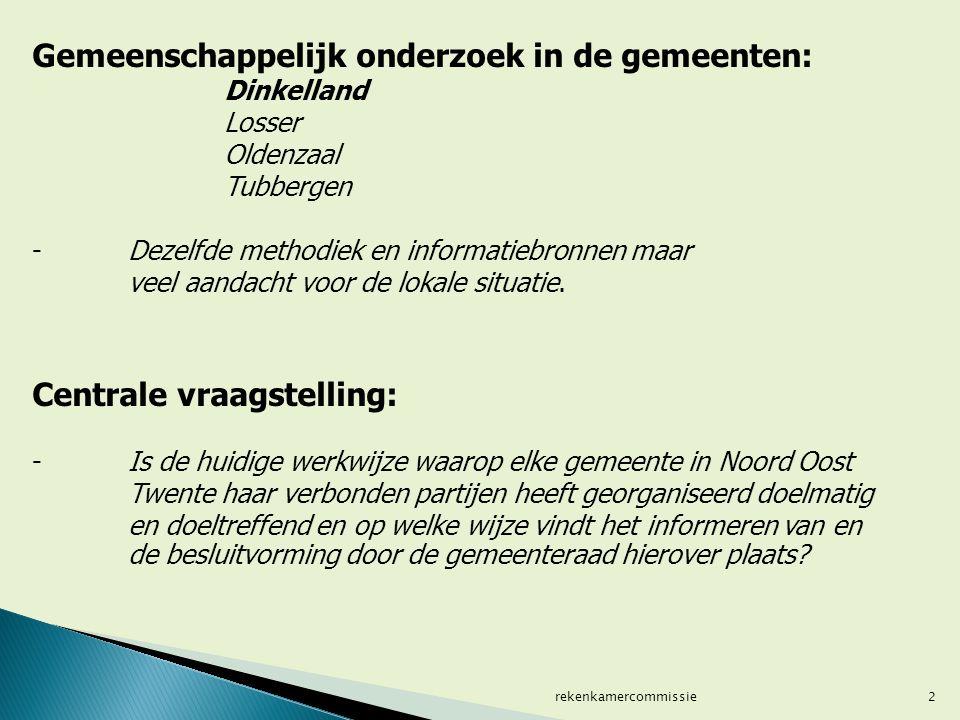 Gemeenschappelijk onderzoek in de gemeenten: Dinkelland Losser Oldenzaal Tubbergen -Dezelfde methodiek en informatiebronnen maar veel aandacht voor de lokale situatie.