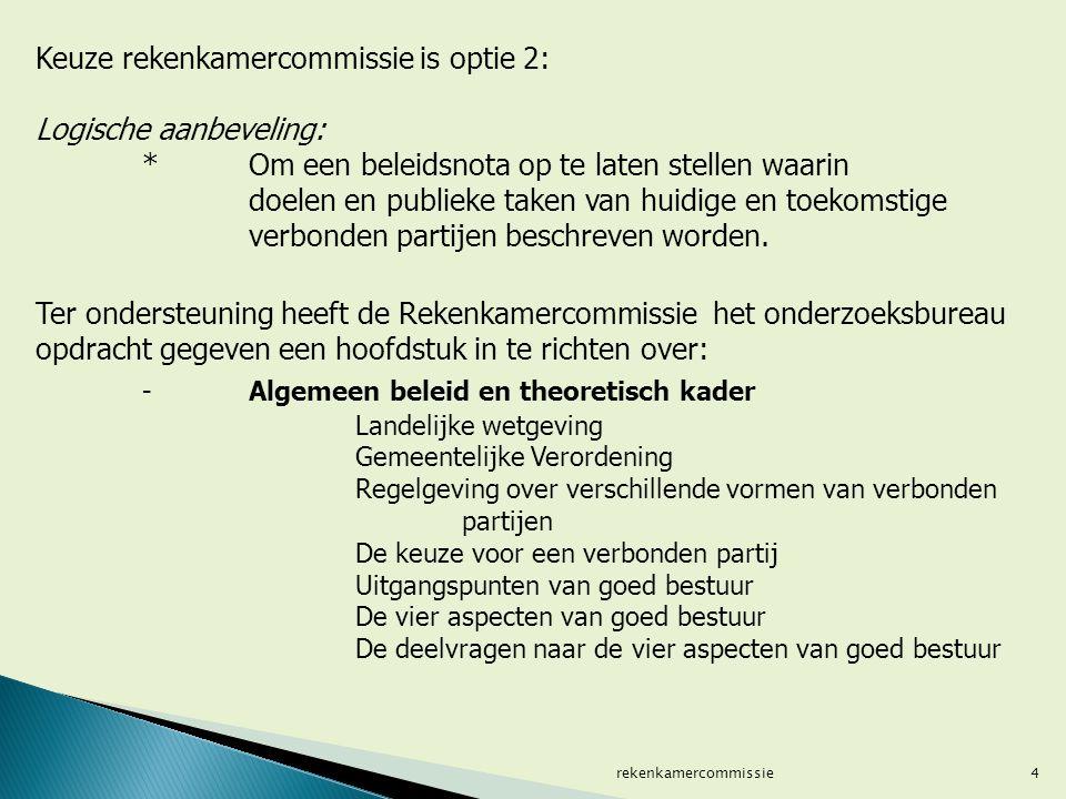4 Keuze rekenkamercommissie is optie 2: Logische aanbeveling: * Om een beleidsnota op te laten stellen waarin doelen en publieke taken van huidige en toekomstige verbonden partijen beschreven worden.