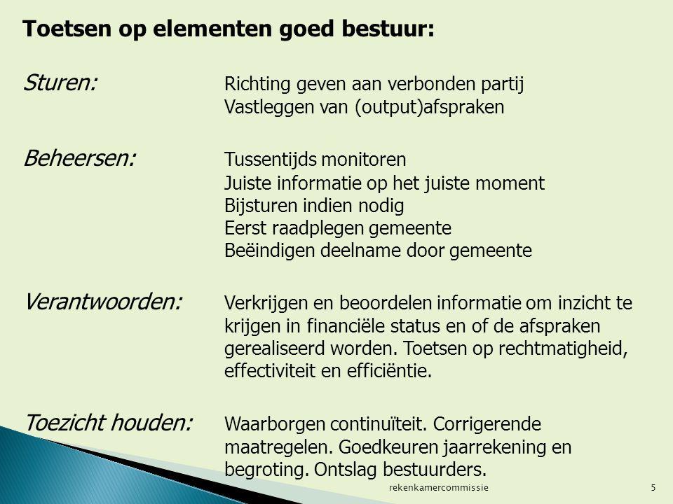 5 Toetsen op elementen goed bestuur: Sturen: Richting geven aan verbonden partij Vastleggen van (output)afspraken Beheersen: Tussentijds monitoren Jui