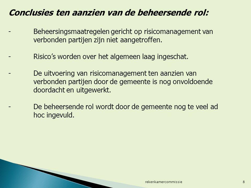 8 Conclusies ten aanzien van de beheersende rol: - Beheersingsmaatregelen gericht op risicomanagement van verbonden partijen zijn niet aangetroffen. -