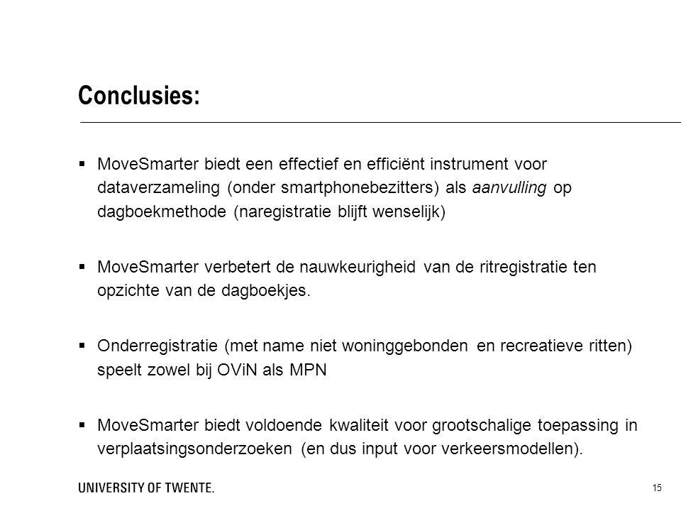 15 Conclusies:  MoveSmarter biedt een effectief en efficiënt instrument voor dataverzameling (onder smartphonebezitters) als aanvulling op dagboekmethode (naregistratie blijft wenselijk)  MoveSmarter verbetert de nauwkeurigheid van de ritregistratie ten opzichte van de dagboekjes.