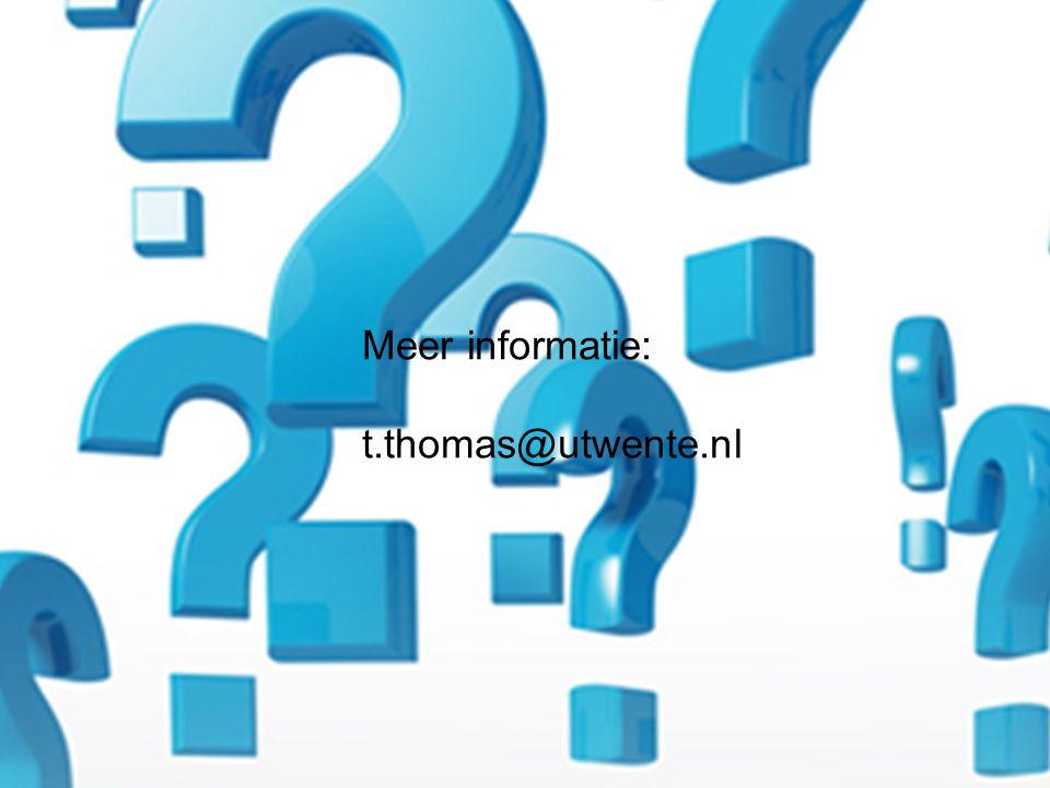 16 Meer informatie: t.thomas@utwente.nl