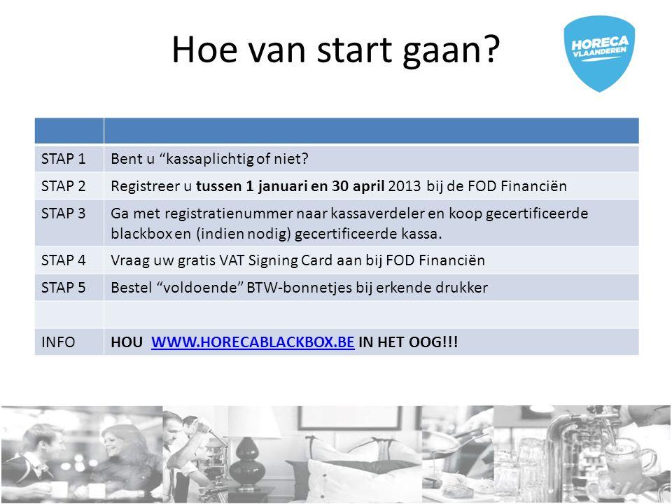 """Hoe van start gaan? STAP 1Bent u """"kassaplichtig of niet? STAP 2Registreer u tussen 1 januari en 30 april 2013 bij de FOD Financiën STAP 3Ga met regist"""