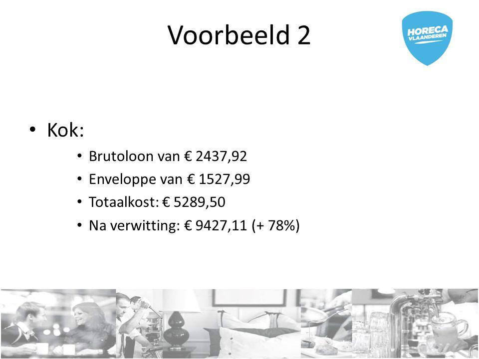 Voorbeeld 2 Kok: Brutoloon van € 2437,92 Enveloppe van € 1527,99 Totaalkost: € 5289,50 Na verwitting: € 9427,11 (+ 78%)