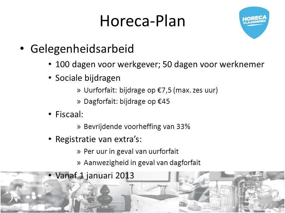Horeca-Plan Gelegenheidsarbeid 100 dagen voor werkgever; 50 dagen voor werknemer Sociale bijdragen » Uurforfait: bijdrage op €7,5 (max. zes uur) » Dag