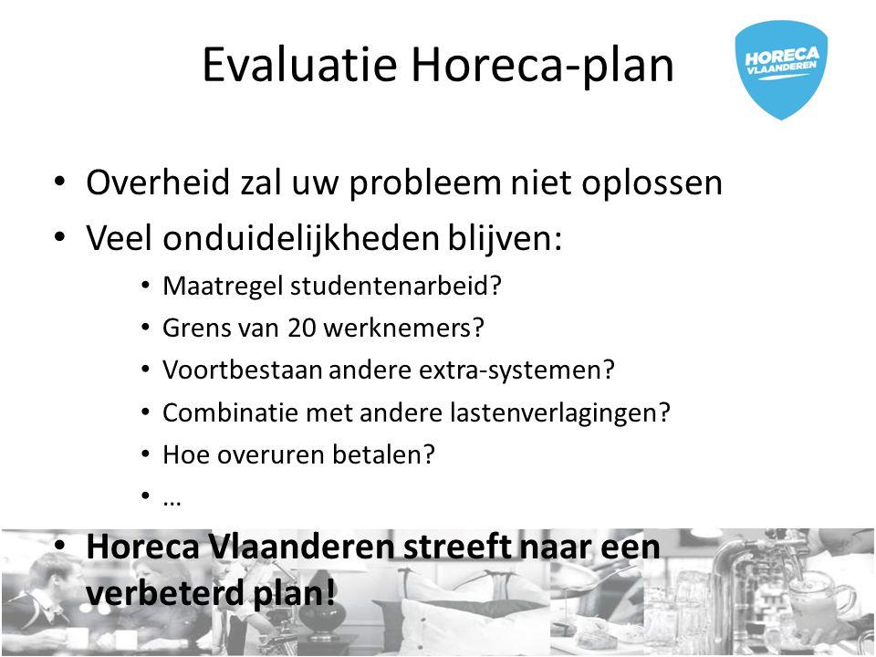 Evaluatie Horeca-plan Overheid zal uw probleem niet oplossen Veel onduidelijkheden blijven: Maatregel studentenarbeid? Grens van 20 werknemers? Voortb