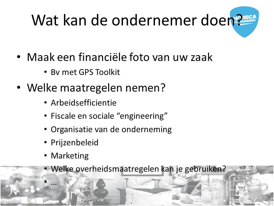 """Wat kan de ondernemer doen? Maak een financiële foto van uw zaak Bv met GPS Toolkit Welke maatregelen nemen? Arbeidsefficientie Fiscale en sociale """"en"""