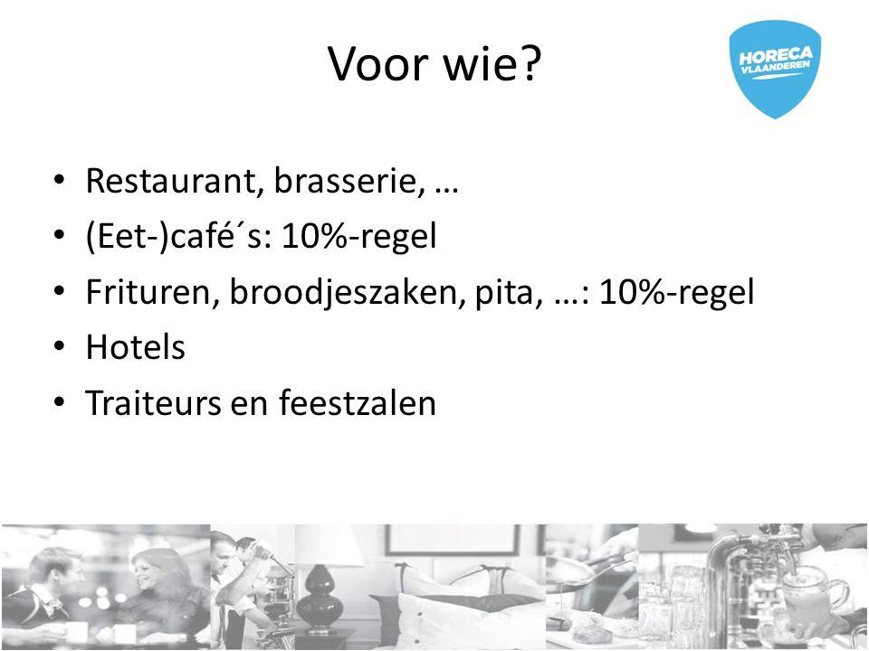 Voor wie? Restaurant, brasserie, … (Eet-)café´s: 10%-regel Frituren, broodjeszaken, pita, …: 10%-regel Hotels Traiteurs en feestzalen
