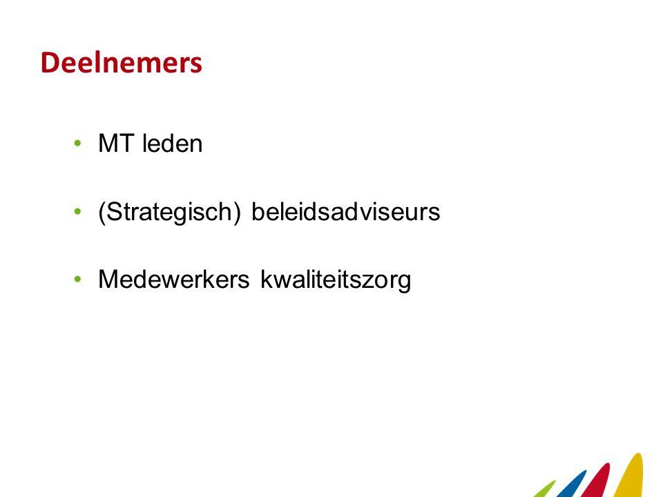 Deelnemers MT leden (Strategisch) beleidsadviseurs Medewerkers kwaliteitszorg