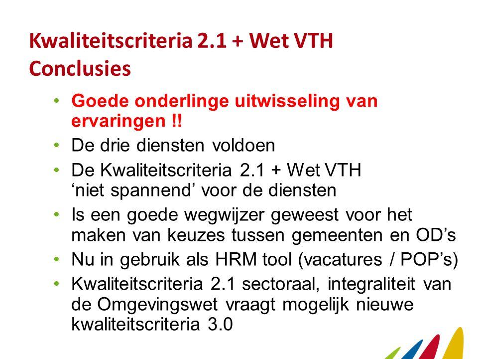Kwaliteitscriteria 2.1 + Wet VTH Conclusies Goede onderlinge uitwisseling van ervaringen !.