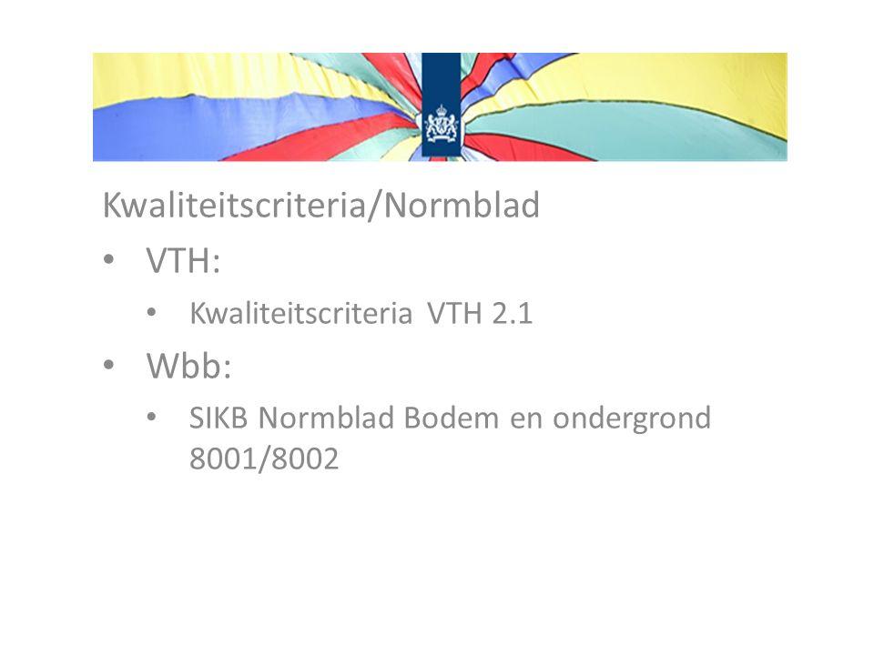 Kwaliteitscriteria/Normblad VTH: Kwaliteitscriteria VTH 2.1 Wbb: SIKB Normblad Bodem en ondergrond 8001/8002