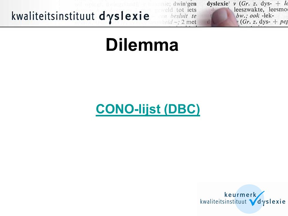 Dilemma CONO-lijst (DBC)